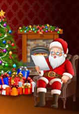 Фотография Векторная графика Новый год Дед Мороз Очки Униформа Елка Подарки Сидит