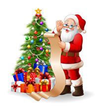 Картинка Векторная графика Новый год Белый фон Елка Подарки Шарики Дед Мороз Униформа