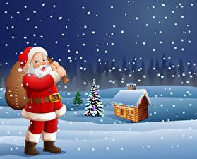Фото Векторная графика Новый год Зима Дома Снег Дед Мороз