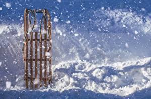 Картинки Зима Снег Сани