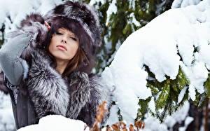 Фото Зимние Снега Ели Смотрит Шапка девушка
