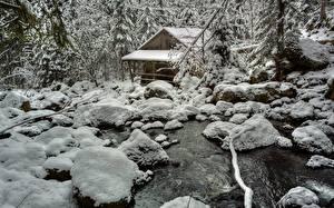 Фотография Зимние Камень Водяная мельница Снеге Ручеек