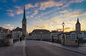 Фотография Цюрих Швейцария Рассветы и закаты Мосты Дороги Уличные фонари Башня Асфальт Улице Города