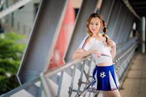 Обои для рабочего стола Азиатки Боке Позирует Юбки Футболке Косички Шатенки девушка