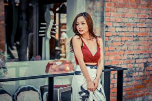 Фотография Азиатки Рука Юбка Декольте Шатенка Миленькие молодая женщина