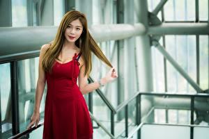Фото Азиатка Поза Платье Руки Смотрит Шатенка молодая женщина