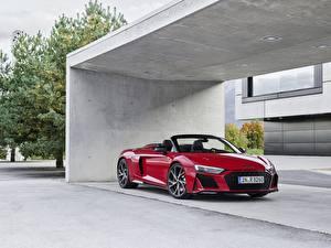 Картинки Ауди Красных Металлик Родстер R8, Spyder, V10, 2020, RWD Автомобили
