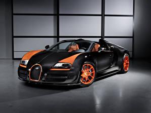 Картинка BUGATTI Черная Оранжевая Углепластик Родстер Veyron, Grand Sport, Vitesse, 2013 авто