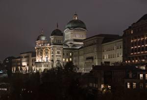 Фото Берн Швейцария Ночь Дворец Federal Palace город