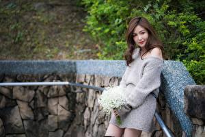 Фото Букет Азиатки Шатенки девушка