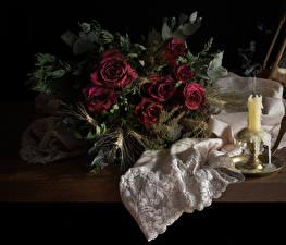 Обои Букет Роза Свечи Натюрморт Бордовая Сухой цветок