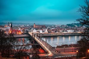 Фотографии Мосты Литва Реки Kaunas город