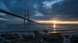 Картинки Мост Пейзаж Португалия Залива Lisbon, Puente Vasco da Gama