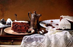 Обои для рабочего стола Торты Кофе Тарелке Ложки Часть Пища