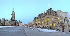 Картинки Канада Здания Улиц Уличные фонари Ottawa Ontario город