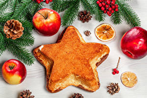 Обои Новый год Яблоки Вафли На ветке Шишки Звездочки Еда