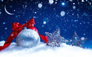 Фото Рождество Шарики Бантик Снег Звездочки
