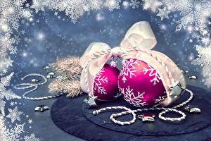 Фотографии Рождество Шар Снежинка Бантики 2