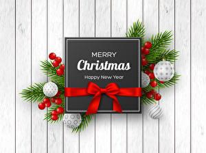 Фотографии Рождество Ягоды Слово - Надпись Бантики На ветке Шарики Английская