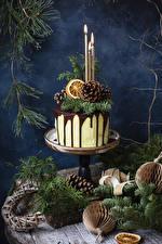 Картинки Новый год Торты Свечи Ветка Дизайна Шишки Еда