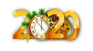 Картинка Рождество Часы Мыши Белом фоне 2020 На ветке