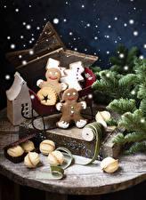 Фотография Рождество Печенье Ветвь Дизайна Пища