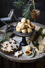 Фото Рождество Печенье Ветвь Дизайна Новогодняя ёлка Звездочки