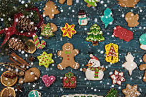 Картинки Рождество Печенье Корица Дизайна Шишка Новогодняя ёлка Снеговик Сердечко Пища