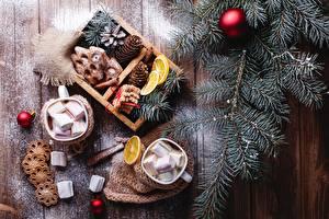 Фотография Рождество Печенье Доски Ветвь Шар Шишка Чашке Зефирки Пища