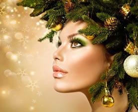 Обои Рождество Оригинальные Лица Мейкап Ветвь Фотомодель