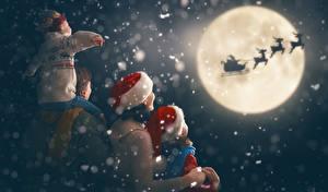 Фотография Рождество Олени Мать Луны Санки Мальчик Девочка Шапка