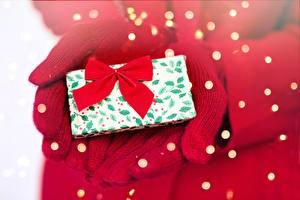Фото Рождество Рука Рукавицы Подарок Бантики