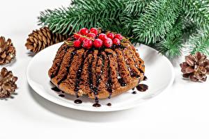Картинка Рождество Кекс Ягоды Тарелка Ветки Пища