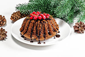 Картинка Рождество Кекс Ягоды Тарелка Ветки
