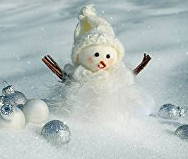 Фотография Рождество Снеговик Шар Шапка Снега