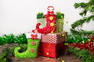 Картинки Рождество Носках Коробки Подарок