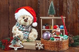 Фотография Рождество Плюшевый мишка Елка Шапки Корзины Шарики Снежинки