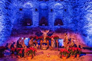Фотографии Новый год Штаты Храмы Ангелы Калифорния Nativity Scene at the Mission San Juan Capistrano