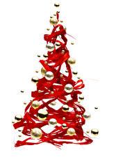 Фотография Рождество Белом фоне Новогодняя ёлка Шар