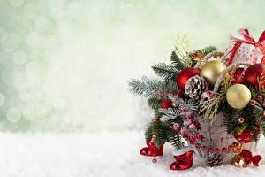 Картинка Рождество Корзина Шар Ветвь Шаблон поздравительной открытки