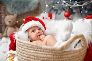 Фото Новый год Корзина Младенцы Шапки