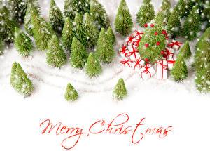 Картинка Новый год Зима Английская Снегу Ель Подарок Слово - Надпись