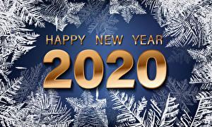 Картинка Новый год Слово - Надпись Английская 2020 Снежинка