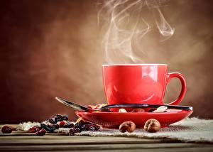 Картинка Кофе Чашке Ложки Паром Блюдца Пища