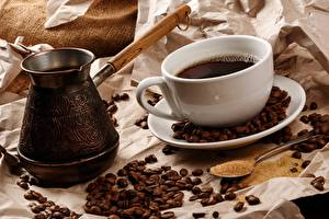 Картинка Кофе Зерно Чашке Турка Ложки Пища