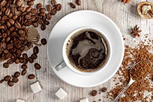 Картинка Кофе Доски Чашке Зерно Сахара Блюдца Пища