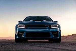 Картинка Додж Спереди Синяя Charger Hellcat SRT Widebody 2020 авто
