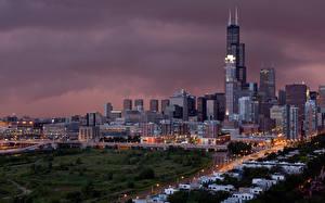 Фотографии Вечер Небоскребы Америка Здания Чикаго город Города