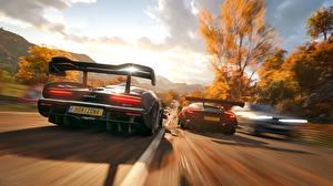 Фотографии Forza Horizon 4 Aston Martin Макларен Вид сзади Скорость 2018 Senna Vulcan компьютерная игра