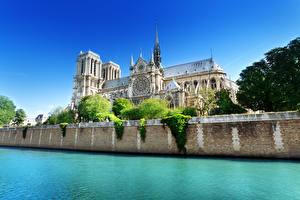 Обои для рабочего стола Франция Реки Собор Париже Seine, Notre-Dame de Paris Города
